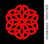celtic shamrock knot in circle. ... | Shutterstock .eps vector #760117825