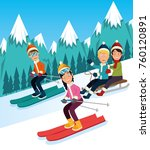 people doing winter sports | Shutterstock .eps vector #760120891