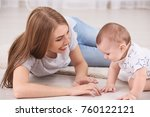 young mother and cute baby... | Shutterstock . vector #760122121