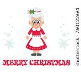 Cartoon Mrs Santa With Text