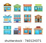 set modern city building facade ... | Shutterstock .eps vector #760124371