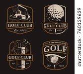 golf vector set with vintage...   Shutterstock .eps vector #760129639