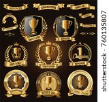 trophy and awards laurel wreath ... | Shutterstock .eps vector #760135807