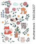 forest and pets on a white... | Shutterstock .eps vector #760136227