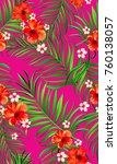 seamless hand drawn tropical... | Shutterstock .eps vector #760138057