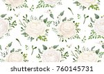 seamless pattern vector floral... | Shutterstock .eps vector #760145731