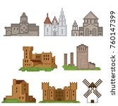 medieval  icons set. pixel art. ... | Shutterstock .eps vector #760147399