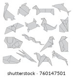 animals origami set of wild... | Shutterstock .eps vector #760147501