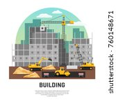 modern building construction... | Shutterstock .eps vector #760148671