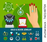 collection of jewelry icons... | Shutterstock .eps vector #760148704