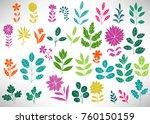 floral set of colorful doodle... | Shutterstock .eps vector #760150159