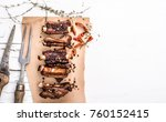 top view of grilled pork ribs... | Shutterstock . vector #760152415