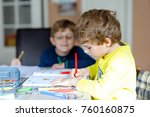two little kids boys at home... | Shutterstock . vector #760160875