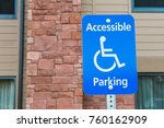 Small photo of Blue Accessible Sign for handicapped person in horizontal view