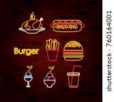 burger and fast food set of... | Shutterstock .eps vector #760164001