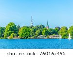 waterfront of the aussenalster... | Shutterstock . vector #760165495