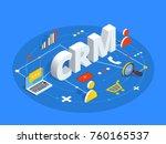 crm isometric vector... | Shutterstock .eps vector #760165537