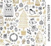 cute christmas pattern.... | Shutterstock .eps vector #760175359
