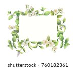 watercolor frame of jasmine and ... | Shutterstock . vector #760182361