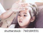 cute asian child girl sickness...   Shutterstock . vector #760184551
