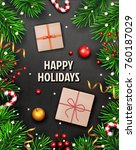 christmas background with fir... | Shutterstock .eps vector #760187029