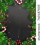 christmas background with fir... | Shutterstock .eps vector #760187035