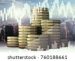 golden coins on abstract city... | Shutterstock . vector #760188661