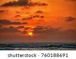sunset under the sea. romantic... | Shutterstock . vector #760188691
