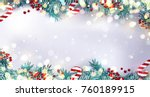 christmas border or frame with... | Shutterstock .eps vector #760189915