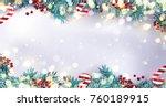 Christmas Border Or Frame With...