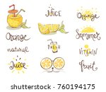 set of images   orange theme.... | Shutterstock .eps vector #760194175