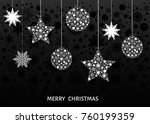 white christmas  balls and... | Shutterstock .eps vector #760199359