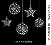 xmas balls and stars. christmas ... | Shutterstock .eps vector #760199791