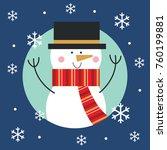 cute snowman christmas... | Shutterstock .eps vector #760199881