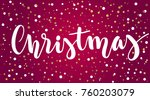 lettering christmas on red... | Shutterstock .eps vector #760203079