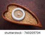 tahini and sesame seeds   food... | Shutterstock . vector #760205734