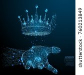 crown in the hand palm low poly ... | Shutterstock .eps vector #760213849