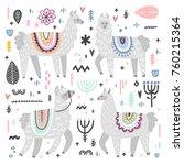 vector set of adorable lamas.... | Shutterstock .eps vector #760215364