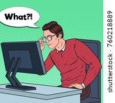 pop art weak eyed young man in... | Shutterstock .eps vector #760218889