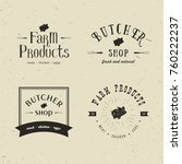 set of retro styled butchery... | Shutterstock . vector #760222237