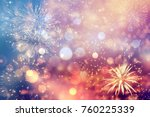 fireworks at new year and copy... | Shutterstock . vector #760225339