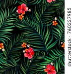 seamless hand drawn tropical... | Shutterstock .eps vector #760227985