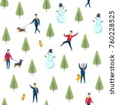 seamless winter park pattern.... | Shutterstock .eps vector #760228525