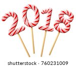 new year 2018 in shape of candy ... | Shutterstock .eps vector #760231009