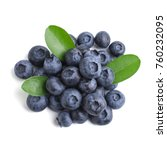 blueberries with leaves on... | Shutterstock . vector #760232095