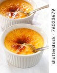 Creme brulee.  Traditional French vanilla cream dessert with caramelised sugar on top. - stock photo