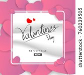 paper art valentines day sale... | Shutterstock .eps vector #760239505