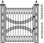 wrought iron gate  ornamental... | Shutterstock .eps vector #760246549