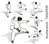 karate woman set   Shutterstock .eps vector #76024939