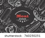 horizontal background with meat ... | Shutterstock .eps vector #760250251